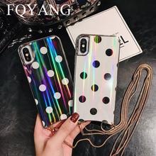 FQYANG Vintage Cassa del Puntino per IL IPHONE XS MAX XR Aurora Cassa di Vetro per Iphone 6s 7 8 In Metallo Cordino per Il caso di Iphone 7P 8P Copertura Posteriore