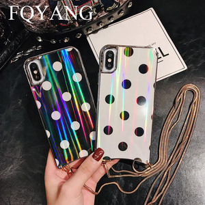 Image 1 - FQYANG Vintage Dot Case for IPHONE XS MAX XR Aurora Glass Case for Iphone 6s 7 8 Metal Lanyard Case for Iphone 7P 8P Back Cover