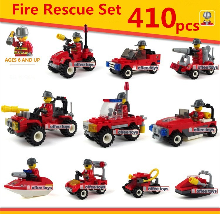 410pcs 10 Cars FIRE RESCUE Truck Technic City Vehicle Boat Fireman Model Building Blocks Brick Figures Gift Boy DIY Toy Children 380pcs fire branch city enlighten bricks toy for children ladder truck building blocks fire fighter figures boys gift k0411 910