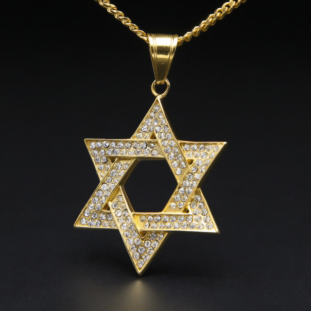 Gold silver plated hip hop iced out bling star of david pendant gold silver plated hip hop iced out bling star of david pendant necklace with 60cm cuban aloadofball Image collections