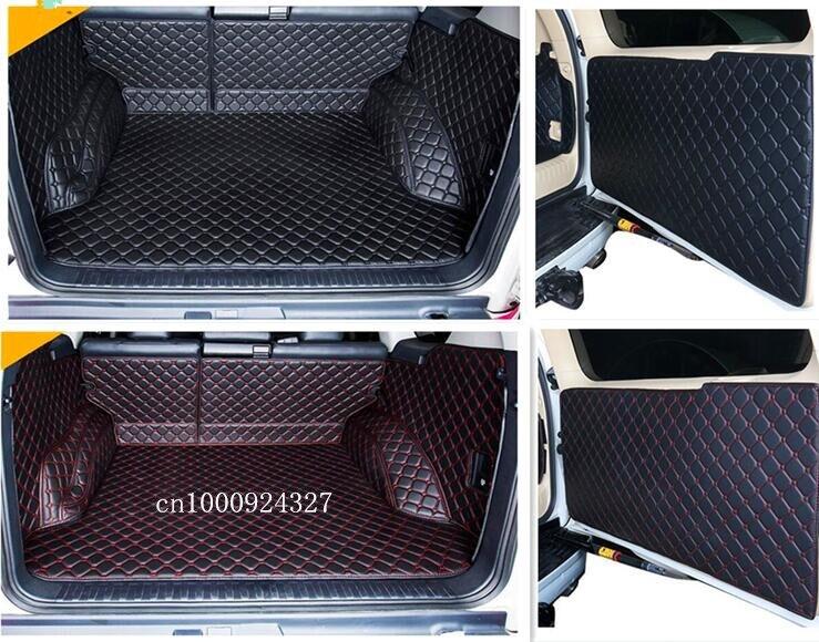 Neu! vollen satz trunk cargo matten und Hinten tür matte für Toyota Land Cruiser Prado 150 5 sitze 2017-2010 boot teppiche, Freies verschiffen