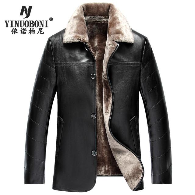 Thick Long Winter Leather Garment Casual Flocking Leather Jackets Men's Clothing Leather Jacket Men lederjacke herren Hot Sale