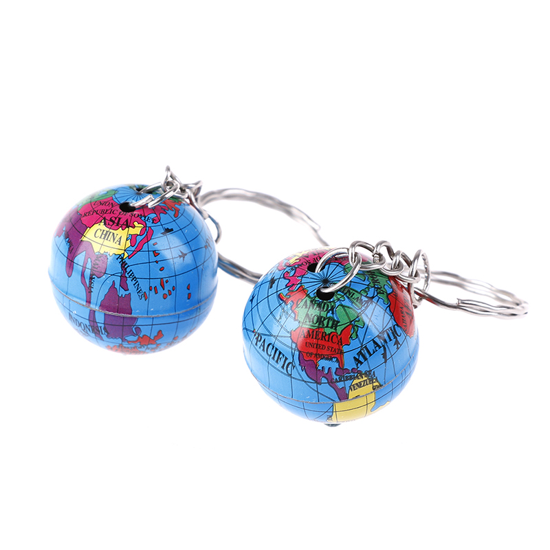 2Pcs Newest Globe Keychain Handmade World Map Planet Earth Geography Key Chain Glass Dome Keychains