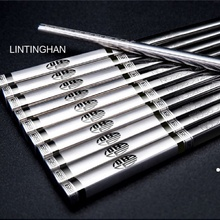 304 stainless steel chopsticks household non-slip Chinese square adult iron fast metal set 10 pairs of blessing