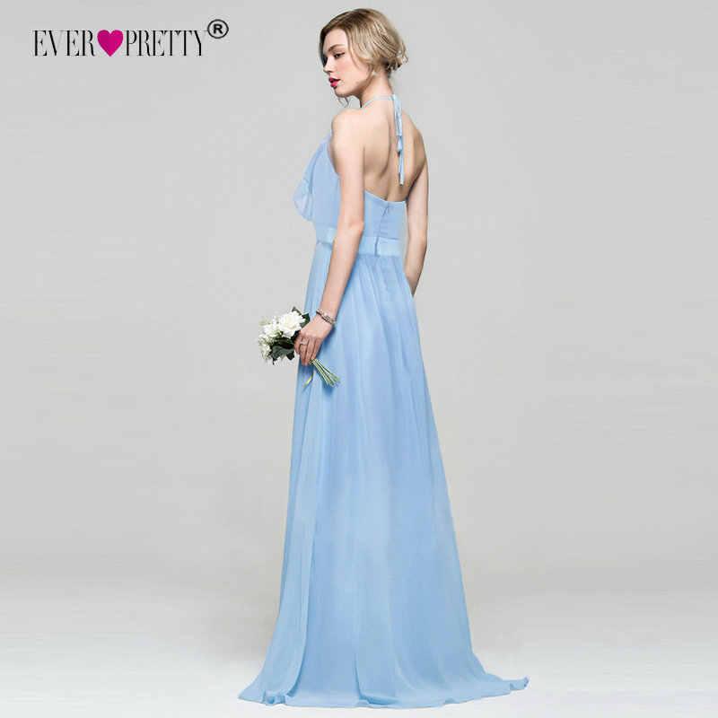 ชุดเจ้าสาว EVER ผู้หญิงสวย Elegant Halter Ruffles ปรับความยาวแขนกุด Backless Gowns งานแต่งงาน 07201