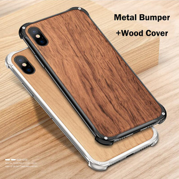 Newest Metal Bumper Case For iPhone XS XS Max XR Cover Shockproof Metal Frame Wooden Back Cover For iPhone X 8 7 Plus Coques iPhone XS