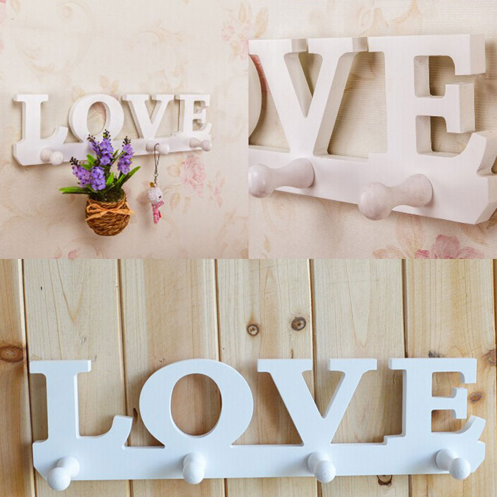 White Simple modern wall shelf shelving rack Korean Style Love Theme Wooden Wall Hanger Storage Rack Coat Hanger Home Decoration