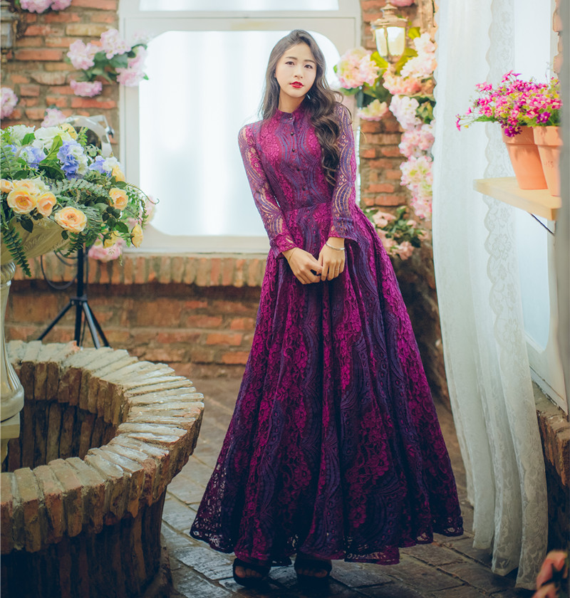 Spring New Fashion Temperament Big Swing Holiday Party Dress Vintage Women Purple Red Lace Maxi ...