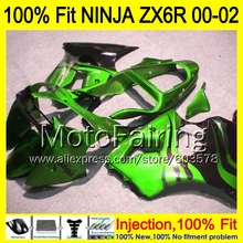 8Gifts Injection mold Body For KAWASAKI NINJA ZX-6R 00-02 1HM148 ZX 6R ZX6R 00 01 02 ZX636  2000 2001 2002 Fairing Green black