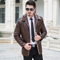 New 2016 Autumn Winter Slim Classical Leather Jacket Men High-grade Fabric Unique Design Jaqueta De Couro Masculina Biker Jacket