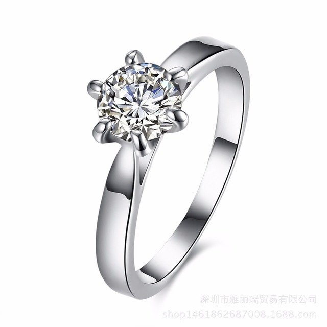 Hot New Arrival Wedding Rings For Women Six Claw Silver Plated Ring Austria Zircon Engagement