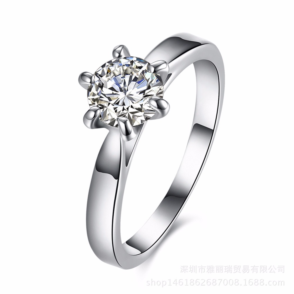 hot sell new arrival wedding rings for women six claw silver plated ring austria zircon engagement - Sell Wedding Ring