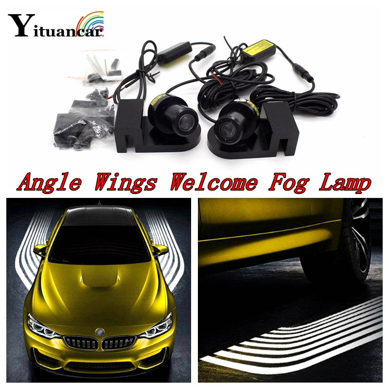 Yituancar 2Pcs 10W LED Car Laser Angle Wings Welcome Logo Warning Light Styling Anti Collision Parking Fog Atmosphere Tail Lamp