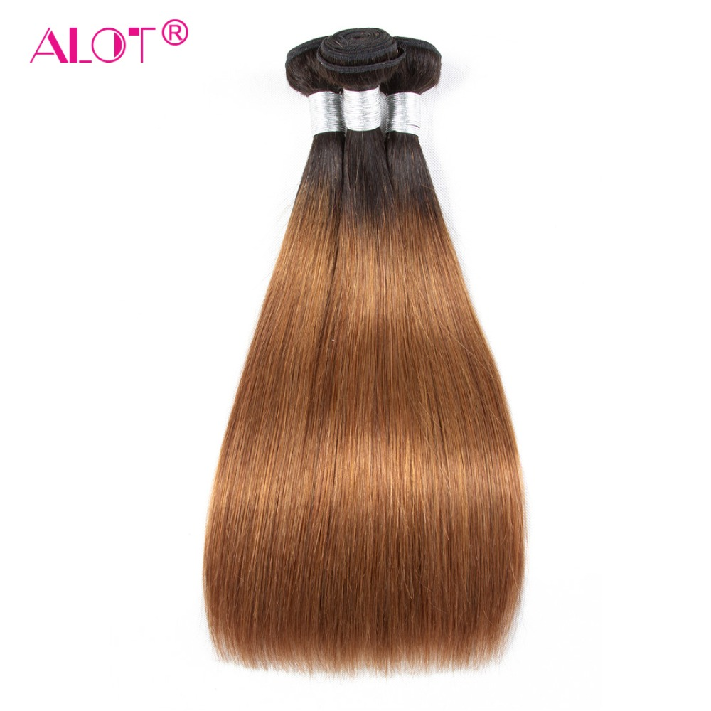 ALot 1B/30 Ombre Straight Human Hair Bundles With Frontal Non Remy Pre Colored Dark Root Brazilian Hair Weaving-in 3/4 Bundles with Closure from Hair Extensions & Wigs    3