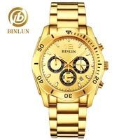 BINLUN Топ мужские золотые кварцевые наручные часы в классическом стиле Daytona стиль водонепроницаемые спортивные часы сапфир Роскошные Мужски