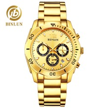 лучшая цена BINLUN Top Men's Gold Quartz Watch Classic Daytona Style Waterproof Sport Watch Sapphire Luxury Men's Business Gold Quartz Watch
