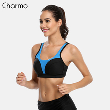 Charmo Womens Sports Bra Fitness Support Yoga Breathable Running Workout Racer back Top Quick Dry Bras solid