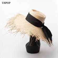 USPOP 2019 New Women Sun hat Raffia straw hat female lace-up straw beach hat summer rough wide brim big bow knot hat