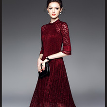 673924f471cf0 Europe the United States high end temperament simple hollow elastic waist  dress