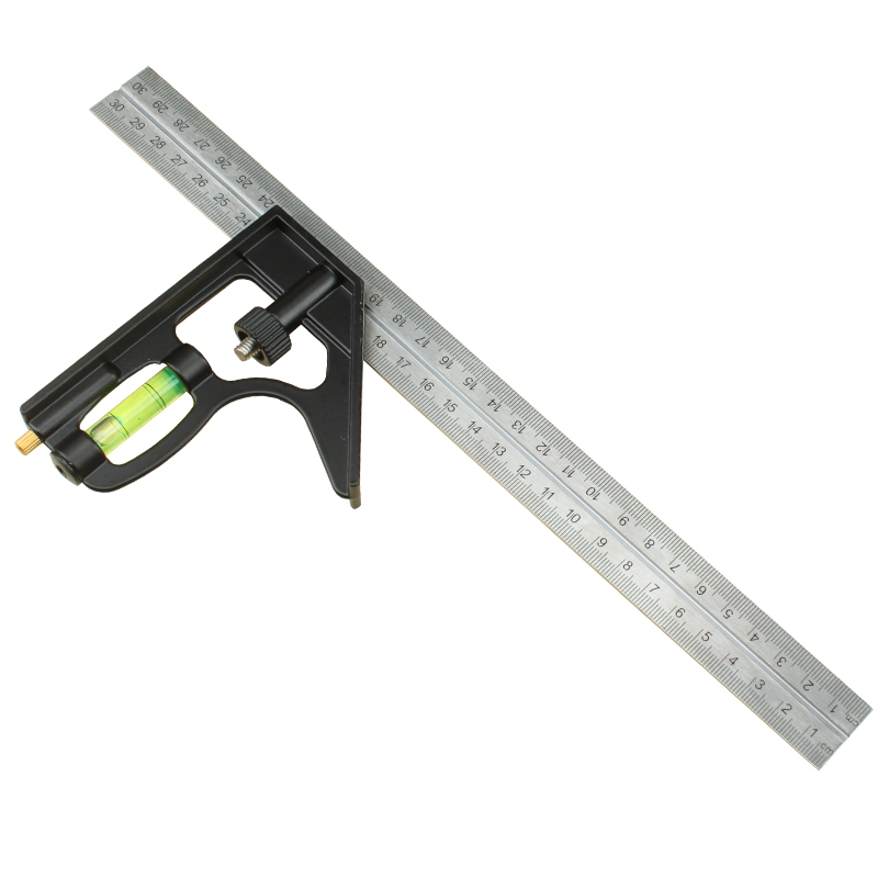 12 300mm Engineer Combination Try Square Set Universal Angle Ruler Stainless Steel Level Spirit  Woodworking Measuring Tool sosw 150 x 300mm stainless steel metric try square ruler