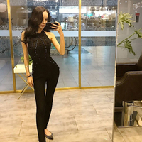 DressBird 2019 New Summer Women Jumpsuits Rompers Sexy Backless One Neck Halter Black Pink Rompers Jumpsuits Celebrity Bodysuits