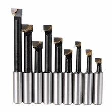 9 peças duráveis duro liga haste chato conjunto barra carboneto derrubado barras 12mm para 2 Polegada 50mm cabeça chata para torno moagem mayitr