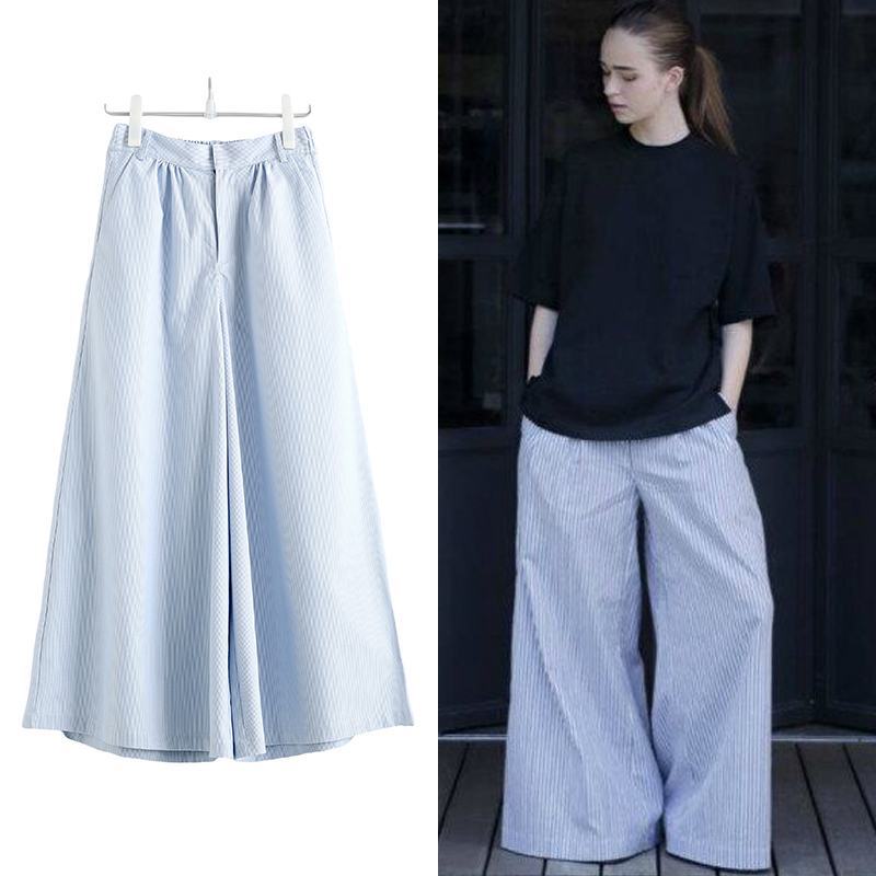 2017 Fashion Striped Long Loose Wide Leg Pants Pleated All-matched Women Casual Summer New