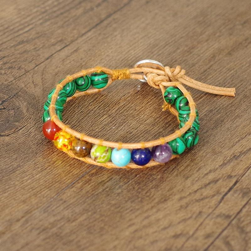 7 Chakra Leather Bracelet Bangle Malachite Stone Beads Wrap Bracelet Women Fashion Jewelry Boho Yoga Chakra Charm Bracelet Gift bracelet