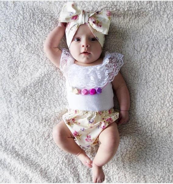 Hot bebê recém-nascido roupas de verão Top + Floral PP Shorts + Headband Set bebê algodão 3 pcs terno