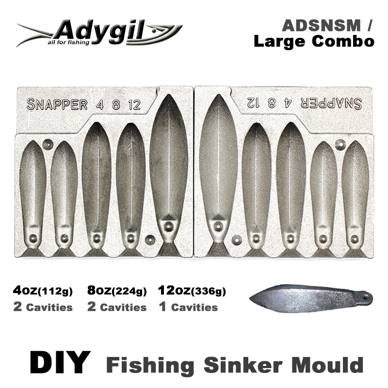 Adygil DIY Fishing Snapper Sinker Mould ADSNSM Large Combo Snapper Sinker 112g 224g 336g 5 Cavities