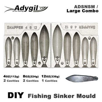 Adygil DIY Fishing Snapper Sinker Mould ADSNSM/Large Combo Snapper Sinker 112g 224g 336g 5 Cavities - DISCOUNT ITEM  12% OFF All Category