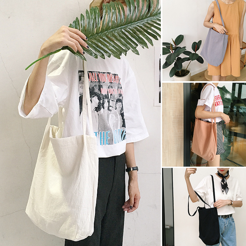 2019 New Fashion Women Shopping Bags Canvas Solid No Zipper Fashion Hight Simple Design Healthy Tote Hand Bag