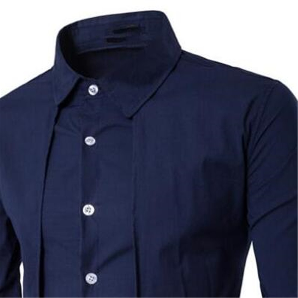 Image 3 - Elegant Man Blue Shirt Gentleman Dinner Party Shirts Long Sleeve Novelty Placket Male Blouse Tide Streetwear 2019 New Boy Tops-in Tuxedo Shirts from Men's Clothing