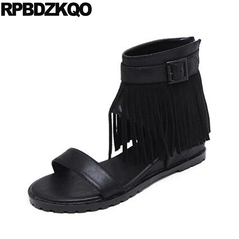 Open Toe Sandals Summer Short Wedge Fringe Black Tassel Shoes 2017 High Heel Women Ankle Boots Medium Cheap Female Fashion New free shipping 2016 new summer shoes square heel sandals medium heel black and gray open toe pumps hsb14
