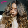 Full Lace Human Hair Ombre Wig Two Tone #1b/4#/30# Human Hair Lace Front Wig Virgin Loose Wave Glueless Peruvian For Black Women