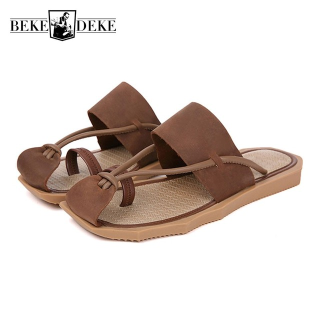 560123acbca High Quality Leather Slides Men Non-slip Summer Slip On Men Sandals Thick  Platform Flip Flops Fashion Brand Casual Beach Shoes