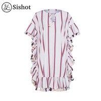 Sishot phụ nữ bohemia dresses hồng white stripes nửa tay áo mermaid o cổ màu khối tua falbala 2017 mùa hè boho dress