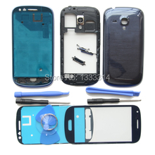 Original Blue Complete Full Housing Back Cover Middle Frame Bezel for Samsung Galaxy S3 mini i8190 Front Glass Adhesive Tools