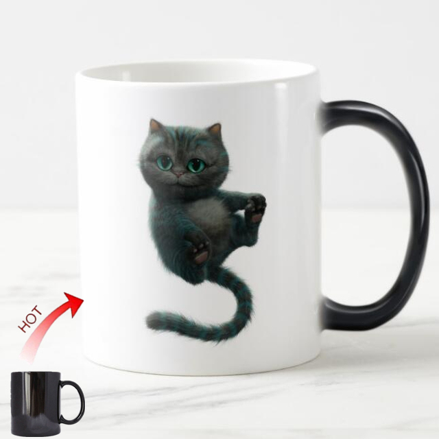 5b0d6b3de96 Taza divertida de Alicia en el país de las Maravillas taza mágica de té de  gato ...