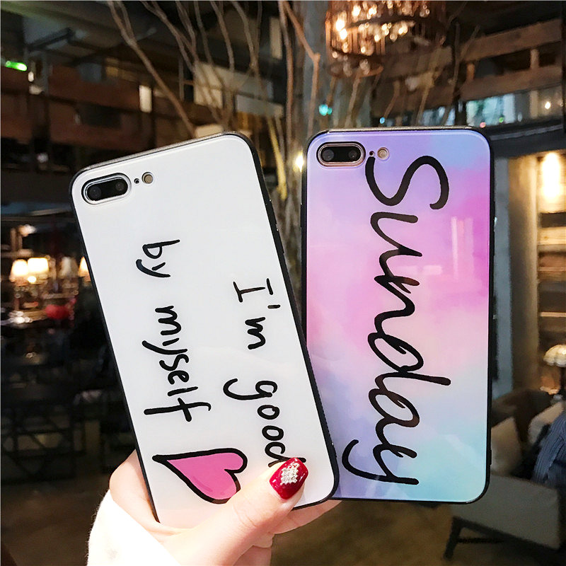 Luxury Tempered Glass Case For iPhone X 8 7 plus Cute Love Heart Full Protection Glass Cover For iPhone 6 6s 7 8 plus Hard Cases