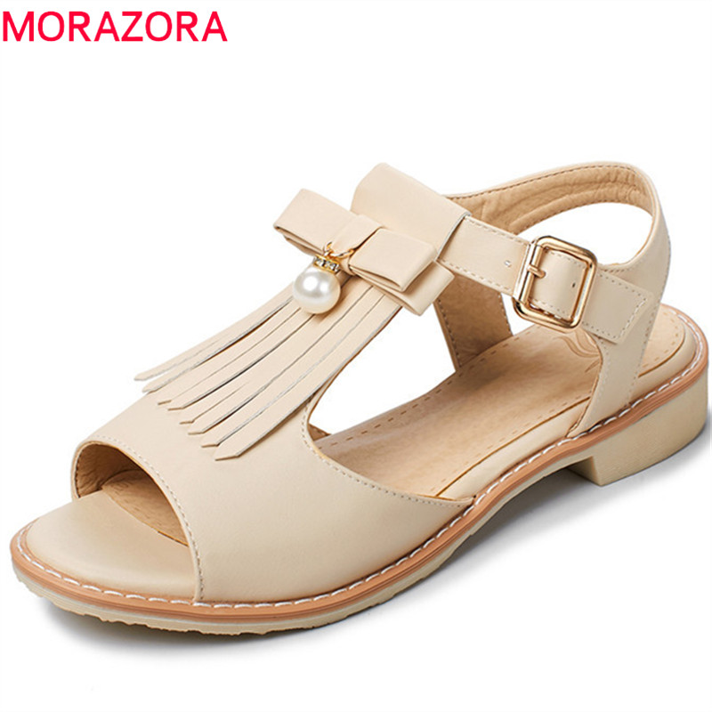 MORAZORA 2018 new fashion sandals women sweet pink peep toe ladies shoes elegant tassels summer shoes comfortable square heels