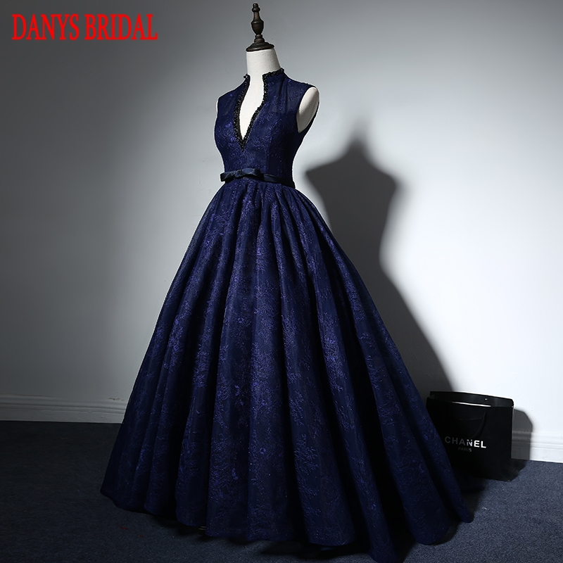 Navy Blue Lace Evening Dresses Long Party Women Custom Made Beaded ...