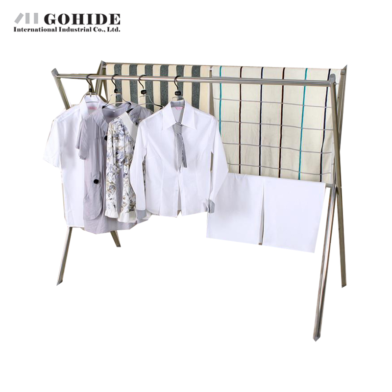Gohide X-Type Coat Rack / Stainless Steel Racks / Floor Folding Drying Racks / Telescopic Hangers / Cool Clothes Coat Racks