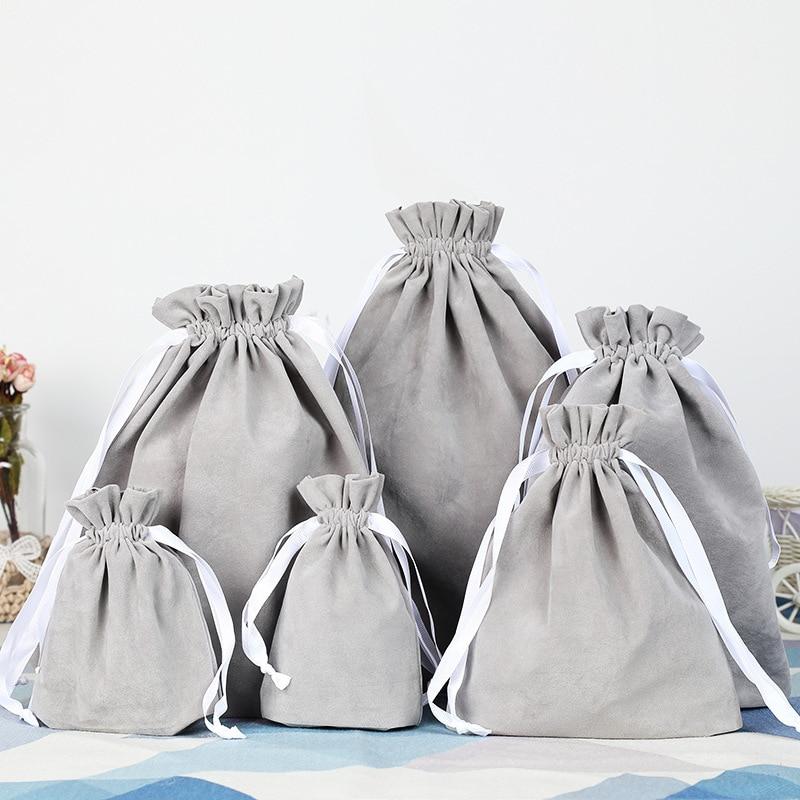 Gray Velvet Bag Custom Logo Print  Pouch Drawstring Bags For Wedding Party Gifts Packing