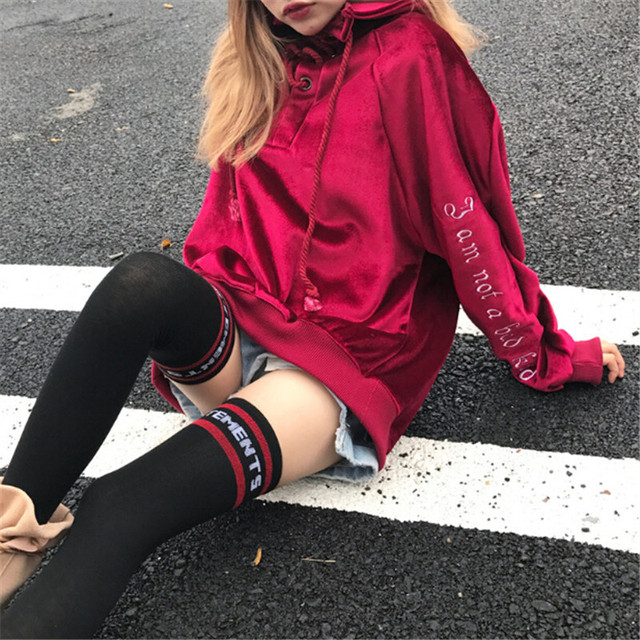 2017 new Tokyo Japan Harajuku girls street fashion women than in the winter warm Pullover Hoodie casual velvet embroidery 2