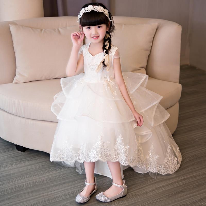 2017 New Korean Sweet Snow White Princess Dress Fashion Luxury 3layers Hand-made Beading Children Girls Lace Wedding Party Dress 2018 new luxury fashion children girls