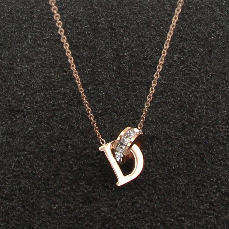New D Letter And Crystal Annulus Interlocking Rose Gold Pendant Necklace 316 Stainless Steel High Polished Necklace For Women 11