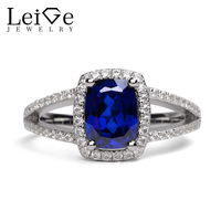 Leige Jewelry Rings Sapphire 925 Sterling Silver Blue Gemstone Engagement Promise Rings Women Valentine Gifts for Lovers