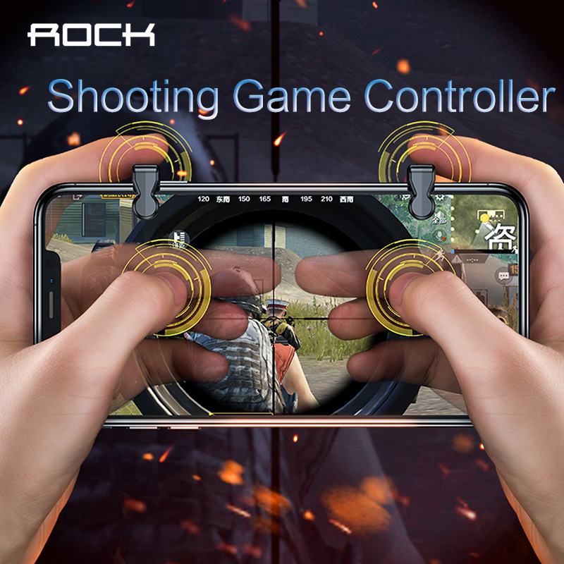 ROCK Mobile Game Fire Button Aim Key Phone Gaming Trigger for PUBG Rules of Survival L1 R1 Shooter Suitable for phones up to 6.5