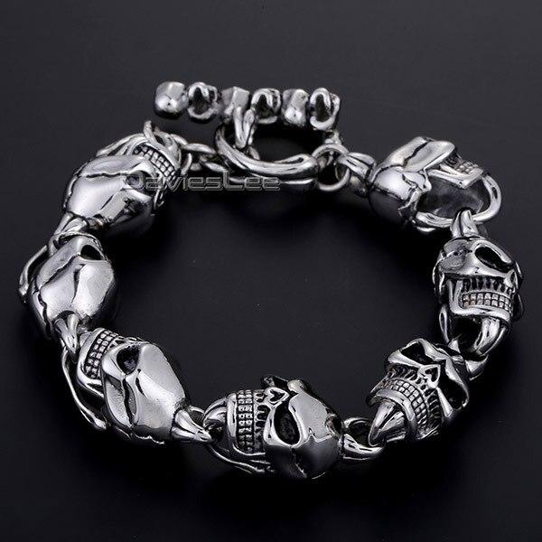 Davieslee 14mm Wide Gothic Biker Mens Chain Boys Silver Tone 316L Stainless Steel Skull Link Toggle Bracelet Bulk Price LHB07